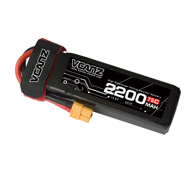 75C 2200mAh 14.8V lipo Vcanz Power 4S 75C lipo for 450-size Helicopters,FPV Racing Quadcopters